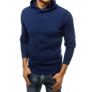 Originálny pánsky modrý sveter s kapucňou BASIC ONE