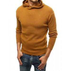 Športový pánsky sveter s kapucňou v módnej karamelovej farbe