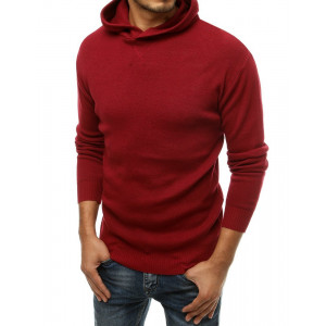 Bordový pánsky sveter BASIC ONE s kapucňou