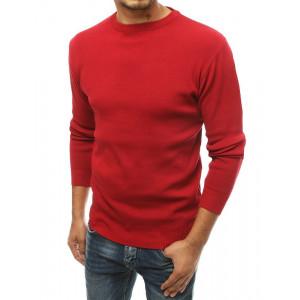Červený pánsky jednofarebný sveter cez hlavu