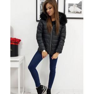 Trendy dámska prešívana bunda na zips s kožušinovou kapucňou