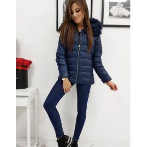 Trendy dámska tmavo modrá prešívaná bunda s kapucňou