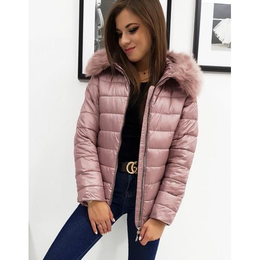 Ružová dámska prešívaná zimná bunda s kožušinovou kapucňou