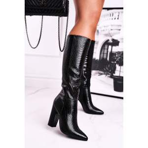 Štýlové dámske čierne čižmy pod kolená v imitácii haďej kože