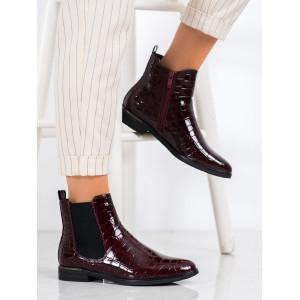 Nízke lakované členkové topánky červenej farby