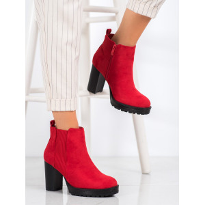 Červená dámska členková obuv na platforme