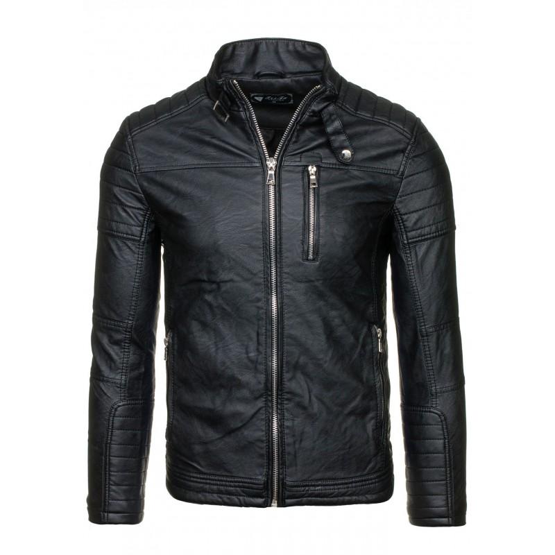 3e47891e59d6 Pánska kožená bunda čiernej farby na zips - fashionday.eu