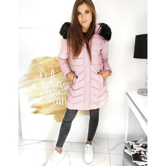 Moderná dámska ružová bunda predĺženého strihu