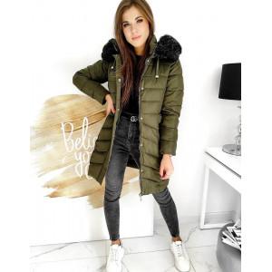 Trendy dámska zelená bunda na zimu s kožušinovou kapucňou