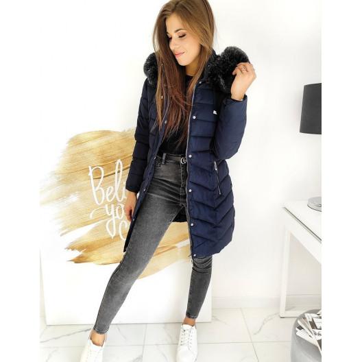 Granátovo modrá dámska zimná bunda s kožušinovou kapucňou