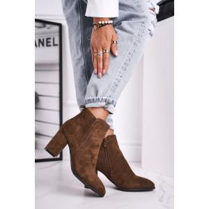 Trendy dámske olivovo hnedé semišové kotníkové topánky