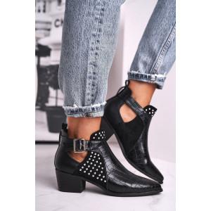 Luxusné dámske čierne kotníkové topánky s módným vybíjaním
