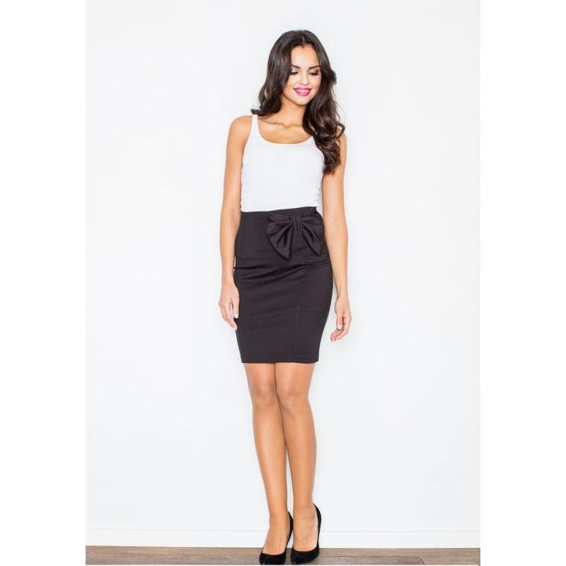 6733cf447156 Predchádzajúci. Elegantná čierna sukňa s mašľou na boku ...