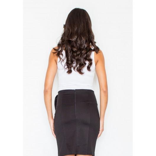 Elegantná čierna sukňa s mašľou na boku
