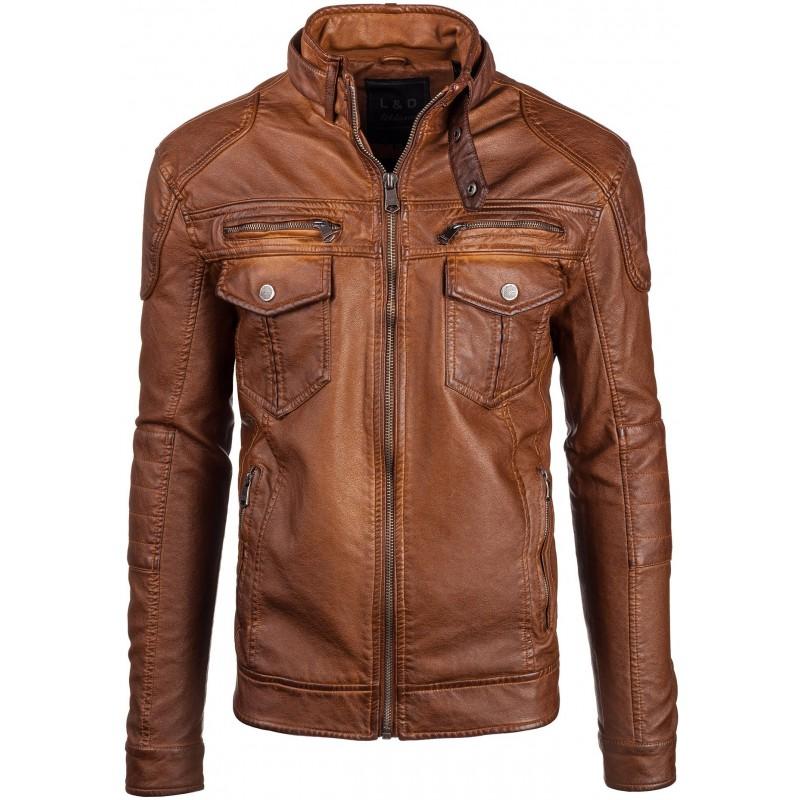 af64f2490ccf Hnedá pánska kožená bunda - fashionday.eu