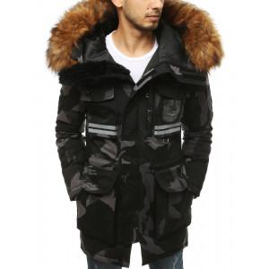 Originálna pánska čierno šedá zimná bunda s kapucňou a kožušinou