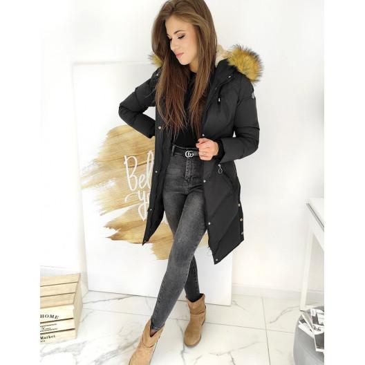 Moderná dámska čierna bunda s kapucňou a prepracovaným designom