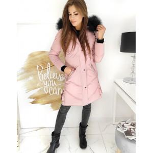Trendy dámska ružová bunda s kožúškom a kožušinovou kapucňou