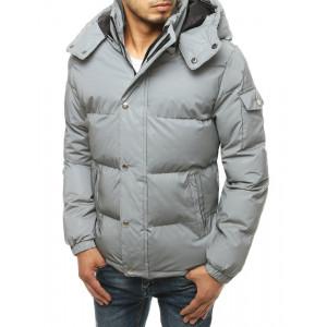 Štýlová pánska prešívaná sivá bunda s kapucňou a vreckom na rukáve