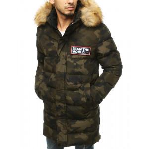 Moderná pánska army bunda na zimu s bohatou kožušinovou kapucňou