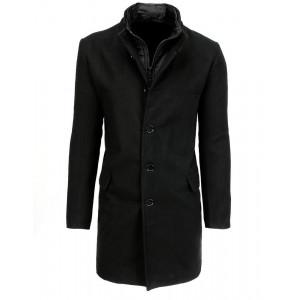 Štýlový pánsky čierny kabát s designovým prepracovaním