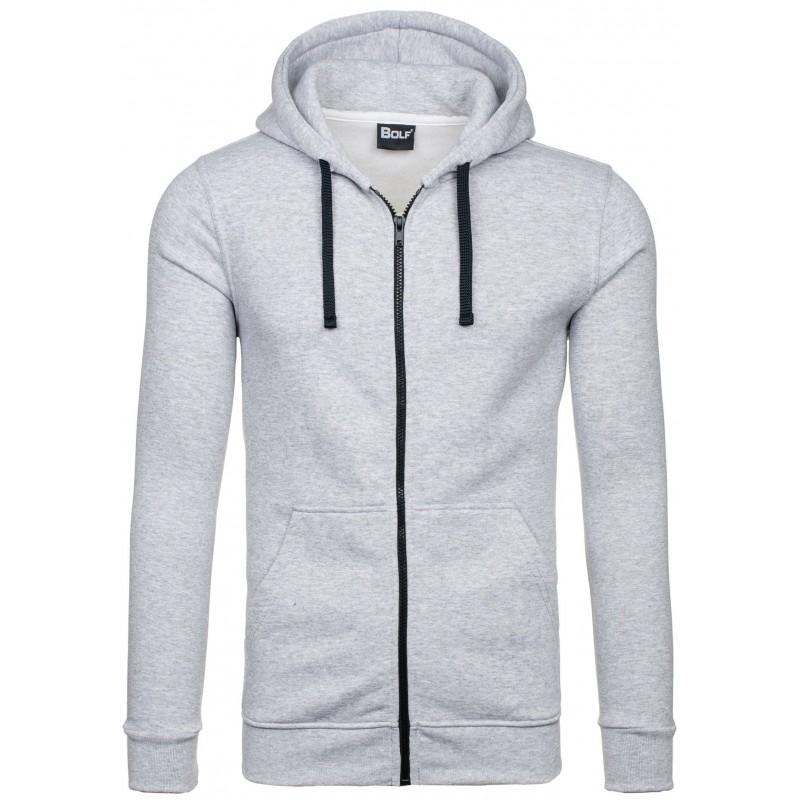 Pánske mikiny s kapucňou sivej farby na zips - fashionday.eu 708387aa212