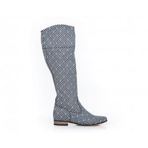 Sivé dámske vzorované kožené topánky