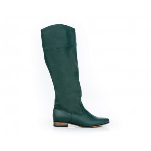 Kvalitné dámske zelené kožené čižmy na nízkom podpätku