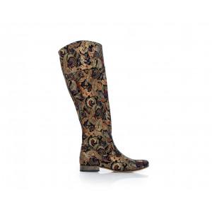 Jedinečné dámske kožené čižmy s mozaikovým vzorom na nízkom podpätku