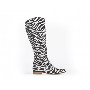 Vzor zebra dámske kožené čižmy na nízkom podpätku