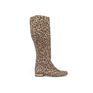 Dámske kožené topánky na nízkom podpätku s leopardiou potlačou