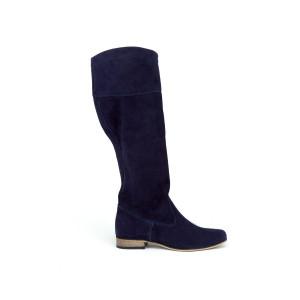 Tmavomodré trendy dámske kožené topánky na nízkom podpätku