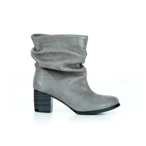 Šedé kožené dámske členkové topánky