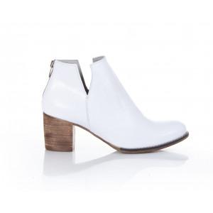 Biele dámske členkové kožené topánky