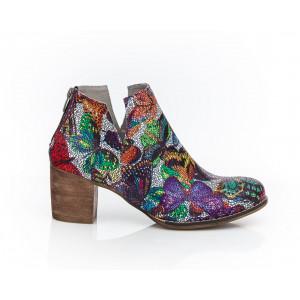 Členkové farebné dámske kožené topánky s motívom motýľov