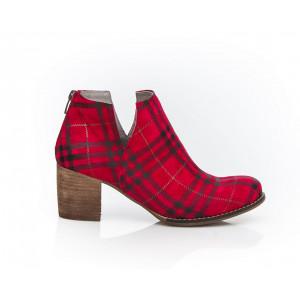 Originálne červeno-čierne dámske topánky z pravej kože