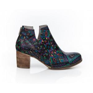 Luxusné dámske členkové kožené topánky s motívom
