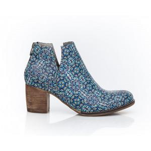 Viacfarebné dámske členkové topánky z pravej kože