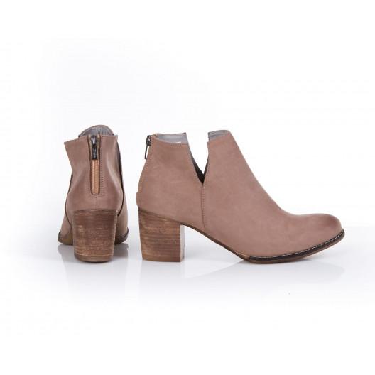 Štýlové dámske kožené topánky farba cappuccino