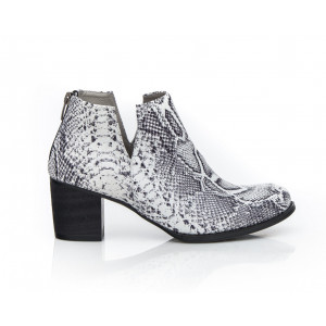Kožené dámske topánky biele vzor hadia koža