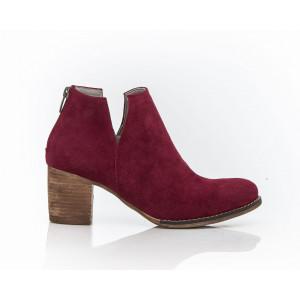 Bordové zamatové dámske členkové kožené topánky