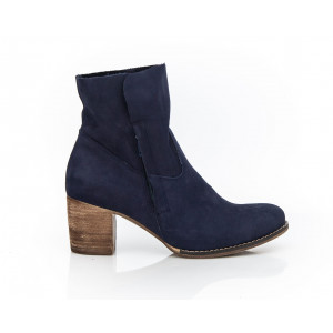 Tmavomodré dámske kožené topánky so zapínaním na zips