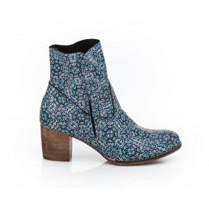 Originálne dámske členkové kožené topánky mozaikový vzor