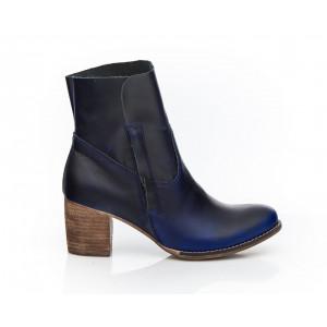 Tmavomodré luxusné kožené topánky pre dámy