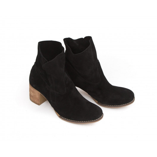 Zamatové čierne dámske kožené topánky na zips