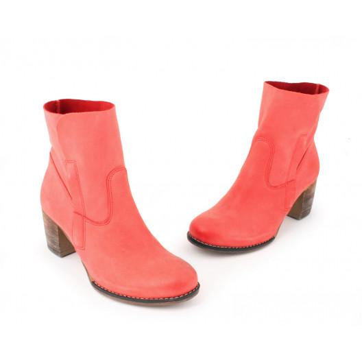 Červené kožené členkové topánky pre dámy