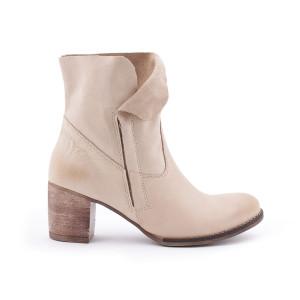 Béžové členkové kožené dámske topánky