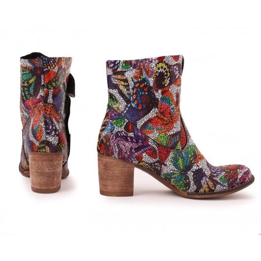 Viacfarebné módne dámske kožené topánky