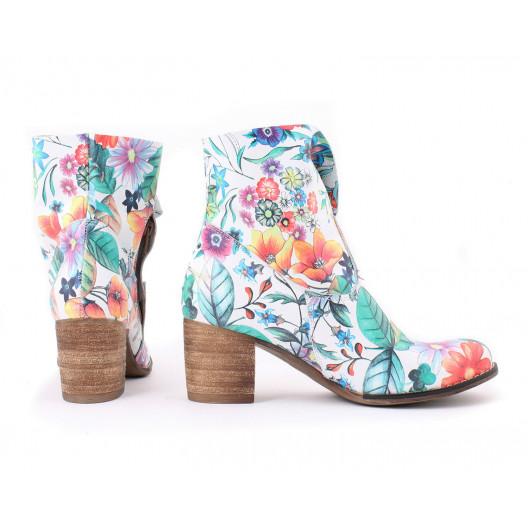 Kvietkované dámske topánky z pravej kože