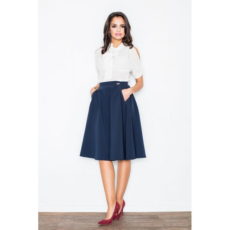 8214a416a5ba Slávnostná dámska sukňa tmavo modrej farby - fashionday.eu